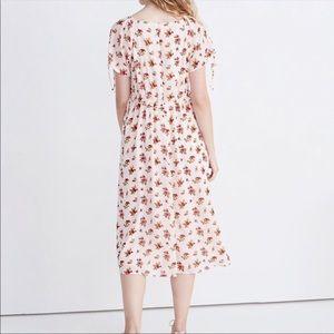 Madewell Floral Tie Sleeve Ruffle Waist Midi Dress